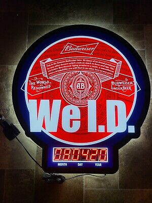 $ CDN329.54 • Buy Budweiser Beer WE ID Countdown Clock Light Up LED Sign Game Room Anheuser Busch