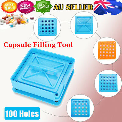 AU17.99 • Buy 100 Holes Manual Filling Machine Capsule Capsule Filler Size 0# Tool Flate AU