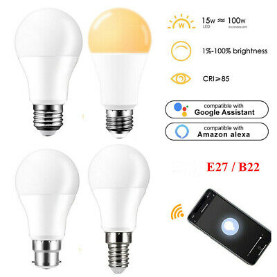 AU21.99 • Buy E27 B22 WiFi Smart LED Light Bulb Voice Control Globe For Alexa Google Home 15W