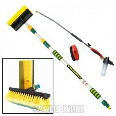 3 Mtr Aluminium Telescopic Water Fed Window Car Wash Brush Spray Gutter Cleaner • 36£