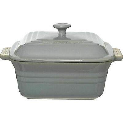 LE CREUSET Light Grey Square Casserole Dish With Lid - 3.3L Brand New • 65.99£