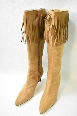 $39.99 • Buy Amanda Smith Shoes Boots Tall Fringe High Heels Camel Suede Size 8.5 Women's New