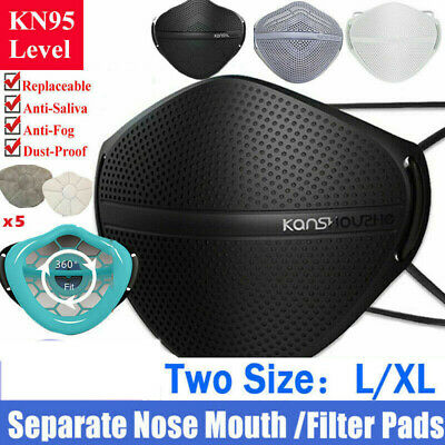 $ CDN16.23 • Buy Face Cover Carbon Filter Mouth Nose Separate Haze Fog L/XL Reusable Washable