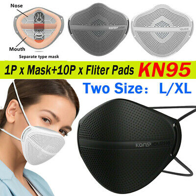 $ CDN15.36 • Buy L/XL Reusable Face Cover Carbon Filters Mouth Nose Separate Haze Fog Washable