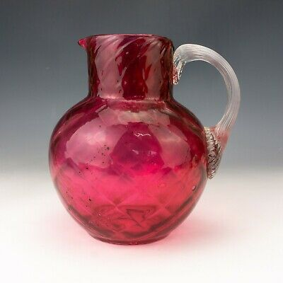 Antique Victorian Large Cranberry & Clear Glass Jug - Lovely! • 0.99£