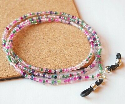 Spectacle/Sun Glasses Chain/Cord Mixed Colour 3mm Beads LGC2 • 2.69£