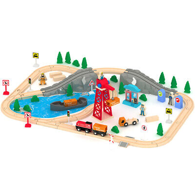 Wooden Train Set 80 PCS Busy Cargo Railway Track Construction Toy All Compatible • 34.99£