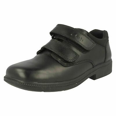 Boys Clarks Deaton Inf Black Leather Smart Strap School Shoes UK Various Sizes • 23.99£
