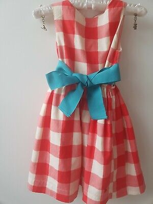 Girls Joules Red Checked Dress Age 5 • 3.99£