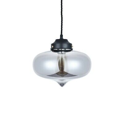 Goslett Smoked Blown Glass Fish Bowl Pendant Light • 45£