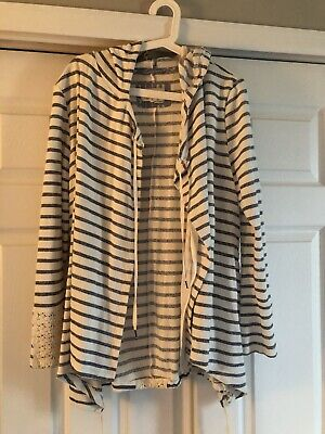 $ CDN50.16 • Buy Anthropologie Saturday Sunday Womens Striped Cardigan Sweater Size L Hooded A8