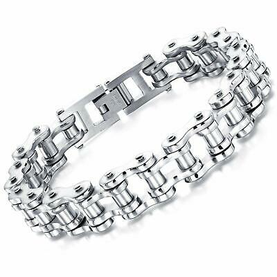 Men's Bike Motorcycle Link Chain Biker Bracelet Stainless Steel Bangle Polished  • 7.89£