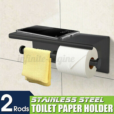 AU26.15 • Buy Toilet Paper Double Roll Holder Polished Rack Rail Storage + Phone Shelf