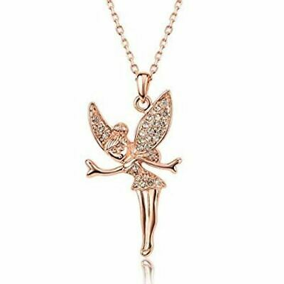 Tinkerbell Fairy Crystal Pendant Necklace Rose Gold • 5.95£