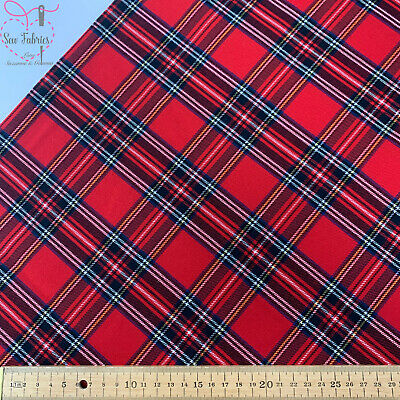 Royal Stewart Stretch Tartan Fabric, Red Check Material • 7.25£