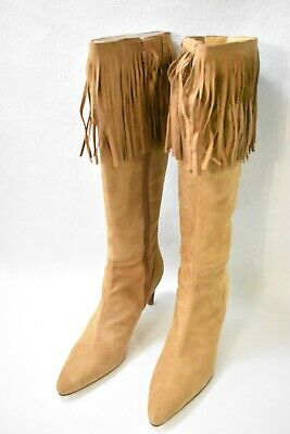 $69.99 • Buy Amanda Smith Shoes Boots Tall Fringe High Heels Camel Suede Size 7.5 Women's New