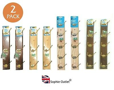 £7.10 • Buy 2 Pack STRONG WOODEN WALL COAT HANGER Hangers Clothes Pine Wood Rack Hooks Pegs
