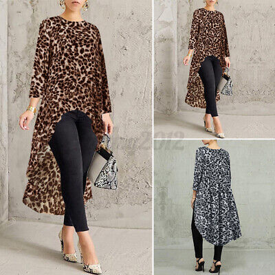 Womens Casual Loose High Low Leopard Shirts Dress Tunic Tops Long Sleeve Blouse • 6.95£