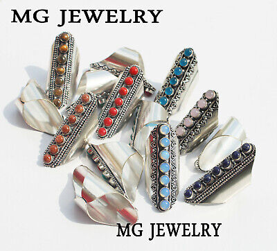 $ CDN114.67 • Buy 25 Pcs Lot 925 Sterling Silver Plated Mix 7 Gemstone Adjustable Rings
