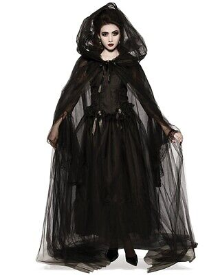 $ CDN31.85 • Buy Gothic Black Corset Long Dress W/ Hooded Cloak Cape Witch Cos Halloween Costume