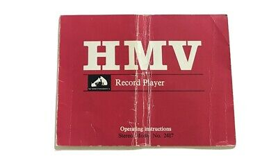 Hmv Record Player Operaring Instructions Stereo For Model No. 2417 • 4.99£