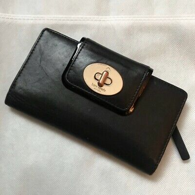 $ CDN32.96 • Buy Kate Spade Stacy Turnlock Wallet Black Leather Long