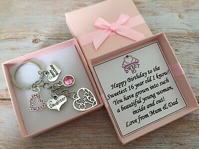 SWEET 16th BIRTHDAY Gifts Charm Keyring For Daughter Sister Niece Friend Cosin • 4.99£