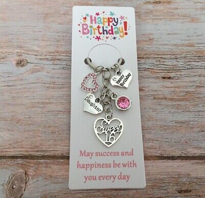 SWEET 16th BIRTHDAY Gifts Charm Keyring For Daughter Sister Niece Cosin Friend • 3.99£