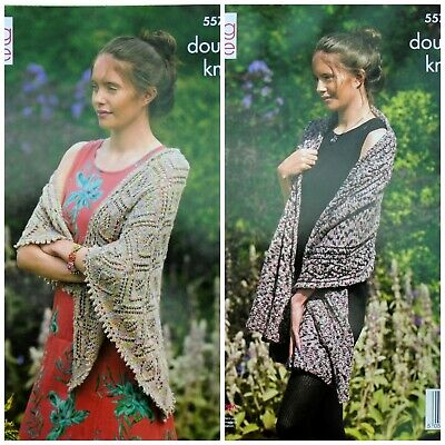 KNITTING PATTERN Ladies Lace Wrap And Shawl Meadow DK King Cole 5572 • 3.95£