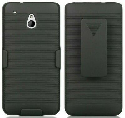 AU11.31 • Buy BLACK RUBBERIZED HARD CASE + BELT CLIP HOLSTER STAND FOR HTC ONE MINI M4 601s