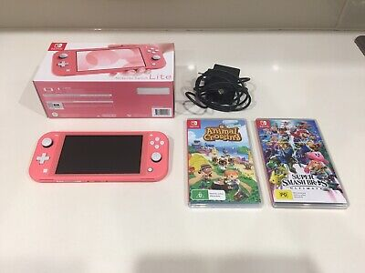 AU330 • Buy Coral Nintendo Switch Lite With Super Smash Bros Ult & Animal Crossing NH