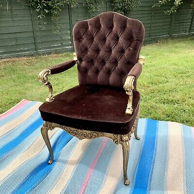 Vintage French Louis XV Elise Armchair  - Gold Frame Brown Velvet Lining Antique • 150£