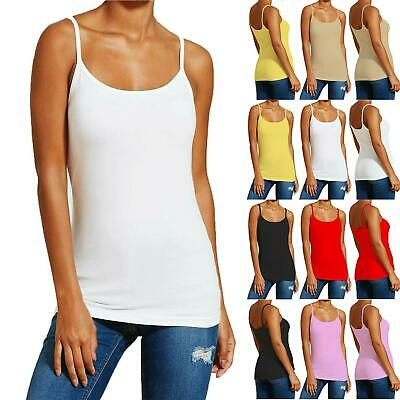 £2.99 • Buy Ladies Cotton Sleeveless Strappy T Shirt Vest Top Womens Camisole Tank Plain Top