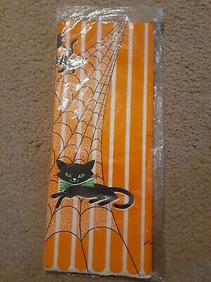 $ CDN13.20 • Buy Vintage Mid Century Modern  Halloween Paper Tablecloth Black Cats