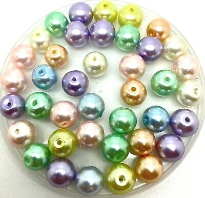 £1.99 • Buy Pastel Mix Of Round Glass Faux Pearl Beads - Choose Size 3, 4, 6, 8, 10, Or 12mm