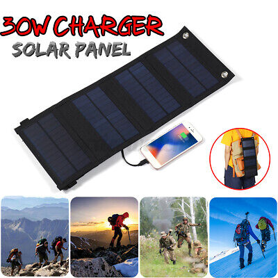 £17.99 • Buy 30W Solar Panel 4 Folding Portable Power Charger USB Camping Travel For Phone UK