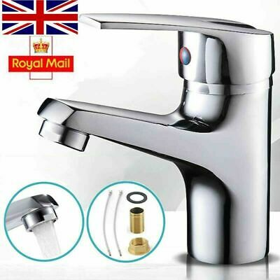 Modern Bathroom Taps Basin Sink Mono Mixer Chrome Cloakroom Tap With 2 Hoses • 12.33£