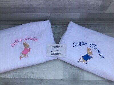 £11.39 • Buy Personalised Embroidered Baby Cellular Blankets. Peter Rabbit, Flopsy Inspired