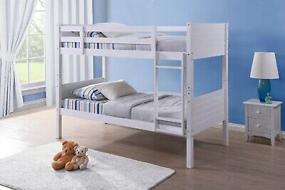 £239.99 • Buy 2ft 6 Small Single Bunk Bed White Pine Kids Childrens Bed