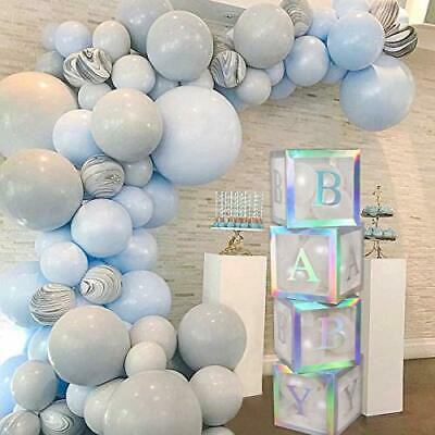 Baby Shower Boxes Party Decorations – 4Pcs Rainbow Silver Transparent Balloons • 23.37£