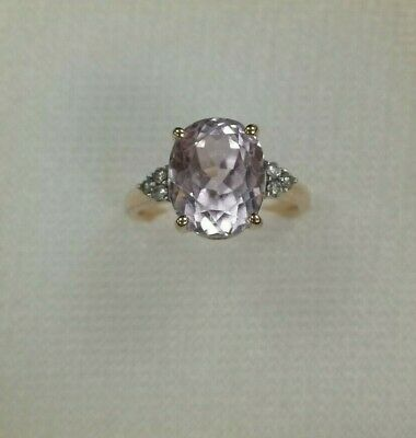 £149.99 • Buy 9ct Rose Gold Diamond And Amethyst Ring Preloved