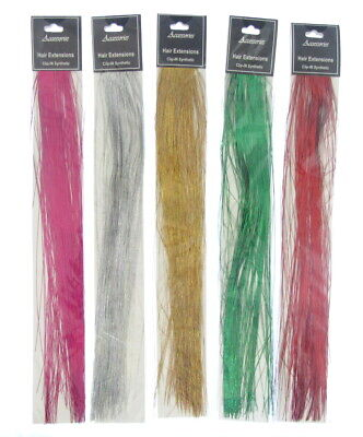Holographic Glitter Tinsel Hair Extensions Sparkle Highlights  15 Inches UK-oa • 2.39£