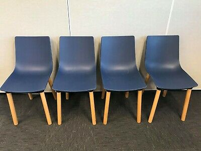 AU80 • Buy Modern Dining Room Chairs Navy With Beech Timber Legs - Set Of 4
