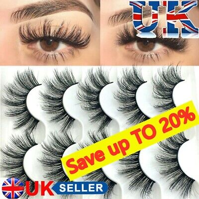 SKONHED 5 Pair 3D Long Mink Hair False Eyelashes Thick Cross Lashes Wispy Fluffy • 3.99£
