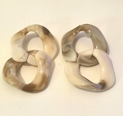£4.99 • Buy Marble Chain Link Chunky Double Hoop Earring Statement Cream Ivory Acrylic