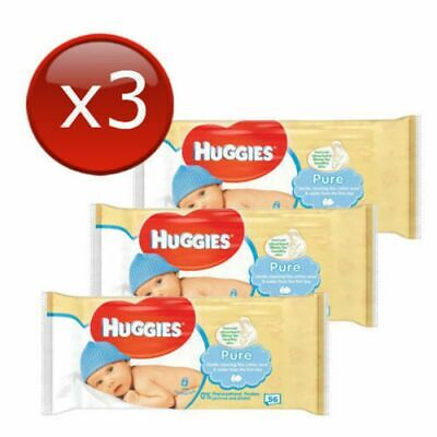 AU24.95 • Buy 3 X Huggies Pure 56 Soft Wipes Baby Wipes 99% Pure Water No Perfume