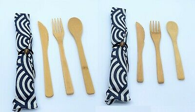 £3.10 • Buy Bamboo Cutlery 3 Piece Set With Carry Choose Size Sustainable ECO Friendly