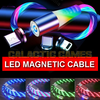🇬🇧Magnetic LED Charger Glowing Cable For IPhone Samsung Huawei Mobile Phone • 6.85£