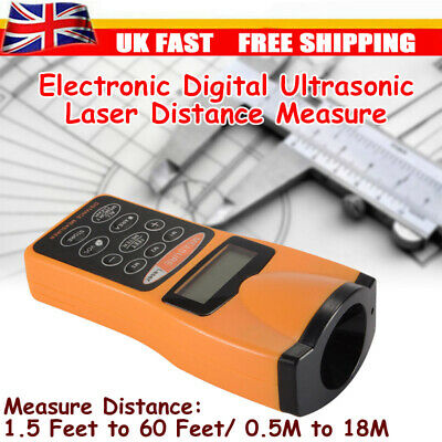 UK Handheld Digital Ultrasonic Distance Meter Tape Range Finder Measure CP3007 • 12.69£