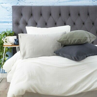 $ CDN106.99 • Buy Renee Taylor Solana Washed Cotton Textured Quilt Cover Set 4-Colours